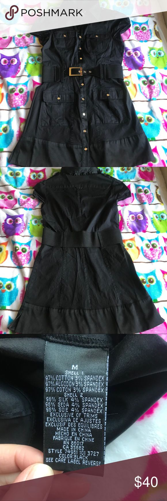 bebe Black Shirt Dress Size M Black shirt dress, Black