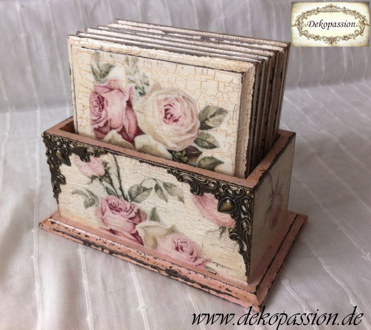 Decoupage Vintage Shabby Coasters/ Serviettentechnik Vintage Untersetzer