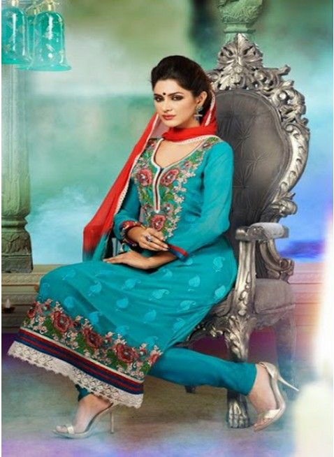 Eyecatching Blue georgette #pakistani_suit with heavy neckline