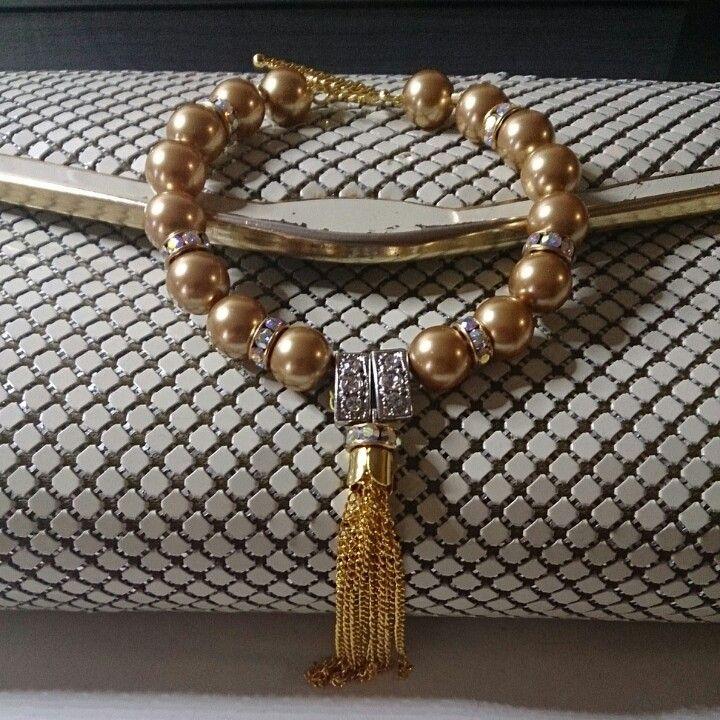Pearl and crystal tassel bracelet
