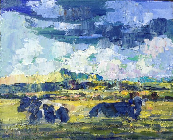 Evening landscape with cows