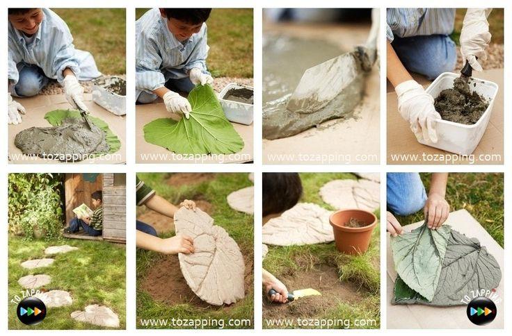 Cómo hacer hojas de cemento para el jardín                                                                                                                                                                                 Más