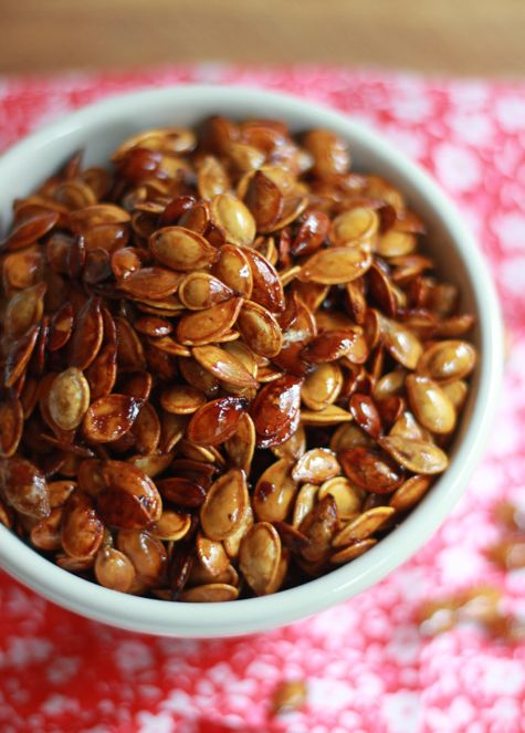 Don't throw them away! Make honey roasted pumpkin seeds for an easy and delicious snack.