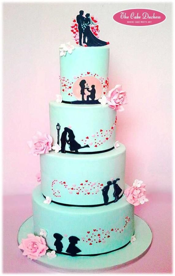 Wedding cake with silhouettes