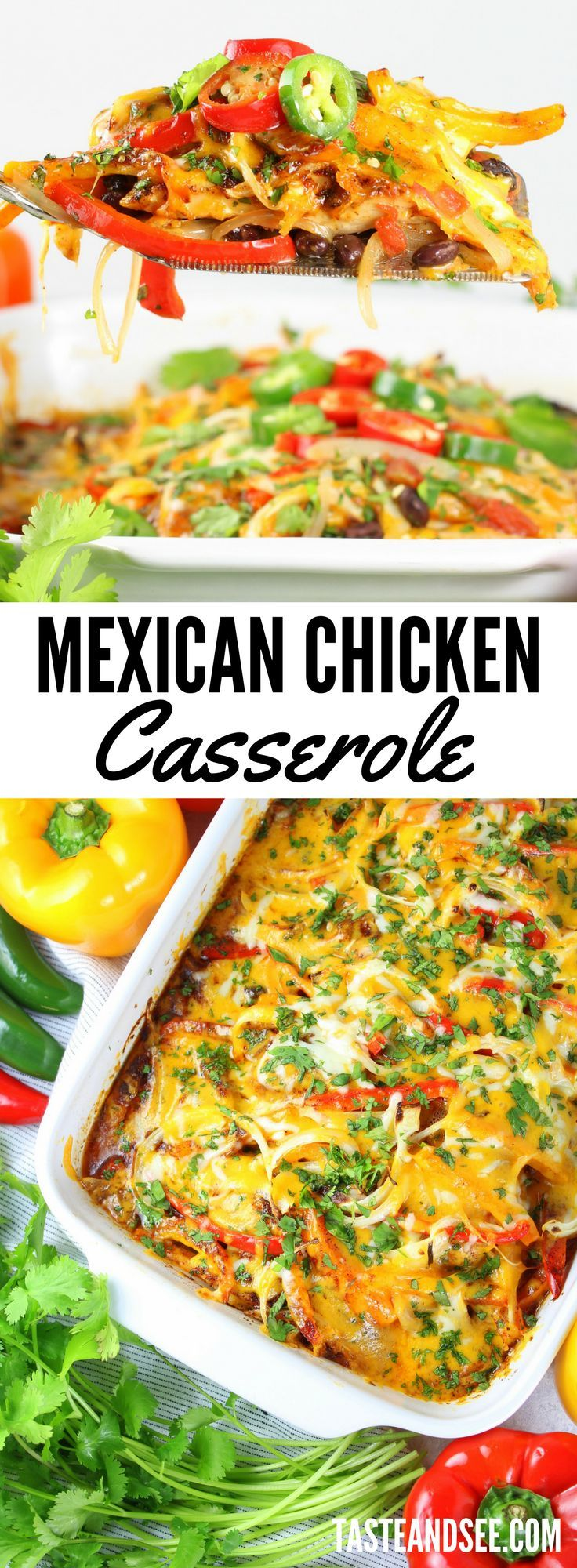 Mexican Chicken Casserole = everything you want in a weeknight recipe: quick, easy and delicious!  With lean chicken, healthy veggies, and perfectly balanced zesty flavor… this one pan meal will definitely be making a regular dinner time appearance! #chickenrecipes   #mexicanfood  https://tasteandsee.com