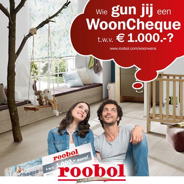 Wie gun jij een nieuwe vloer, raambekleding of een vloerkleed? Plaats een reactie bij dit bericht, vermeld wie je de wooncheque gunt en motiveer je keuze! Liken en delen is niet verplicht, maar vinden we wel heel leuk! Kijk op www.roobol.com/woonwens voor de actievoorwaarden. #roobolwoonwens #roobol #actie #wooncheque #jubileum