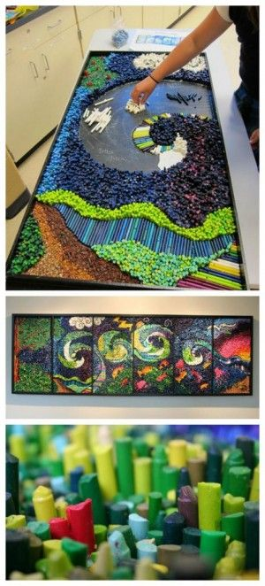 Noah's Ark is a six panel crayon mosaic of the Bible story. Six schools and parishes have come together to complete this 4' by 12' piece. The project was awarded a grant through the Grand Rapids Community Foundation on the basis of both its artistic merit and the fact that it is a multigenerational community project. Ages 3 through 90 are working together to independently complete their 2' by 4' panel in schools and parishes. Gaunt Industries generously donated 50 bottles of glue. Thousands…