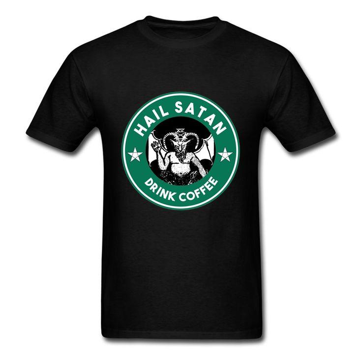 734,59 руб. / Короткий рукав Father's Day пользовательские Люцифер град сатана пить кофе футболка последней конструкции мужчин большой размер дизайн футболки купить на AliExpress