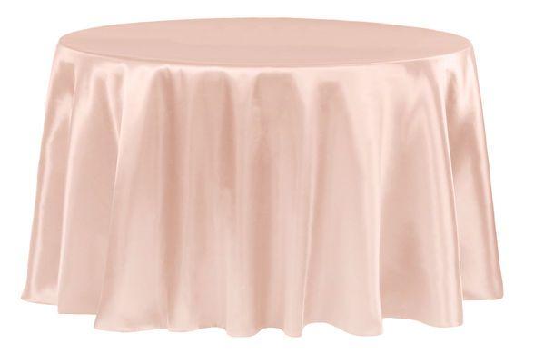 "Satin 120"" Round Tablecloth - Blush/Rose Gold"
