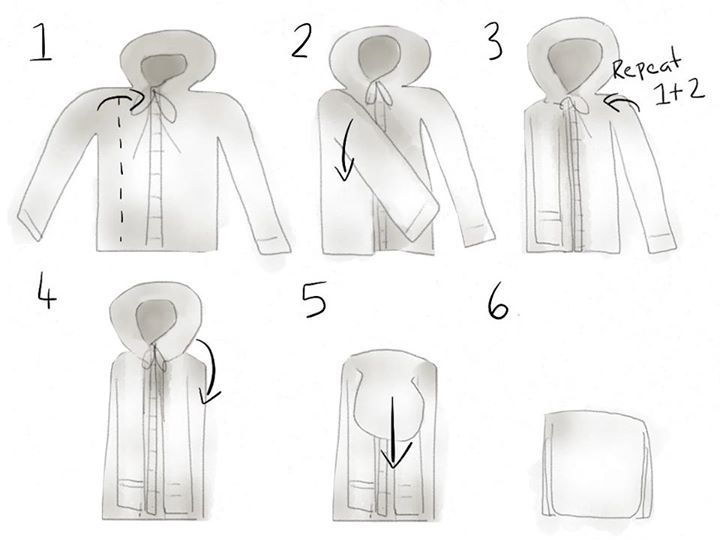 How to fold a hoodie or a coat. Great for travel purposes, too. Source: Cat morley
