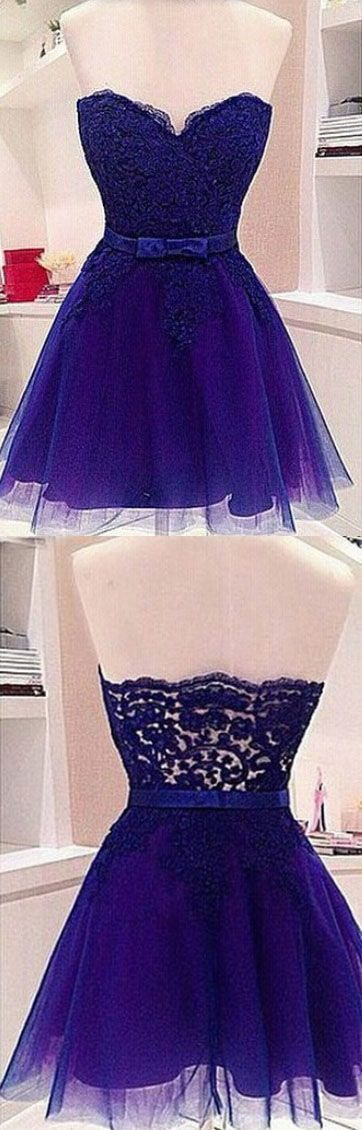 exy Prom Dress,Tulle Prom Dress,Short Homecoming Dress with Appliques,Lovely Prom Gown by fancygirldress, $155.00 USD