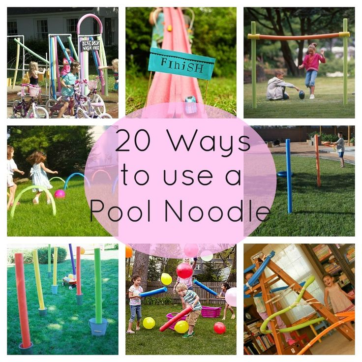 "Different ways your kids can use pool noodles this summer! I like the bike ""car"" wash, wish I had that idea as a kid!"