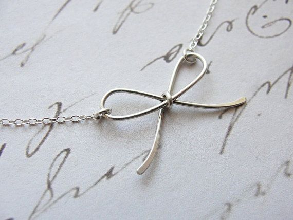 Silver bow necklace - tiny - little silver jewelry - Olive Yew Jewels