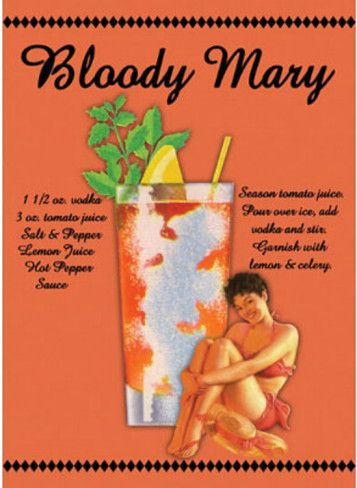 Bloody Mary Drink Recipe Sexy Girl Tin Sign at AllPosters.com