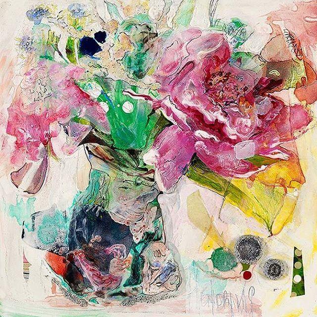 Hey, I'm blackmailing you! Get it?, 12x12 Deep, Mixed Media on Canvas. #artist #painting #canadianart #floralart #contemporaryart #maryannhendriks #koymangalleries #peony #callalily #tobyjug #thief #tinkertailorsoldierspy #chateauoart