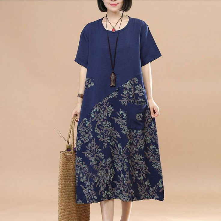 Retro Splicing Floral Summer Loose Women Linen Cotton Navy Blue Dress