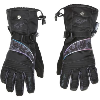Divas SnowGear Lace Collection Snowmobile Gloves#Durable, 420D Nylon shell with Reissa®, breathable and waterproof coating 150 grams 3M™ Thinsulate™ Insulation throughout, additional 100 grams of polyfill insulation on back of hand HIPORA® waterproof, windproof, breathable membrane AXE Suede® palm material Back of hand pocket for heat pack YKK® Zipper Reflective piping for nighttime visibility Adjustable wrist closure Adjustable cuff with shock cord Reinforced fingertips Non-slip fingertips