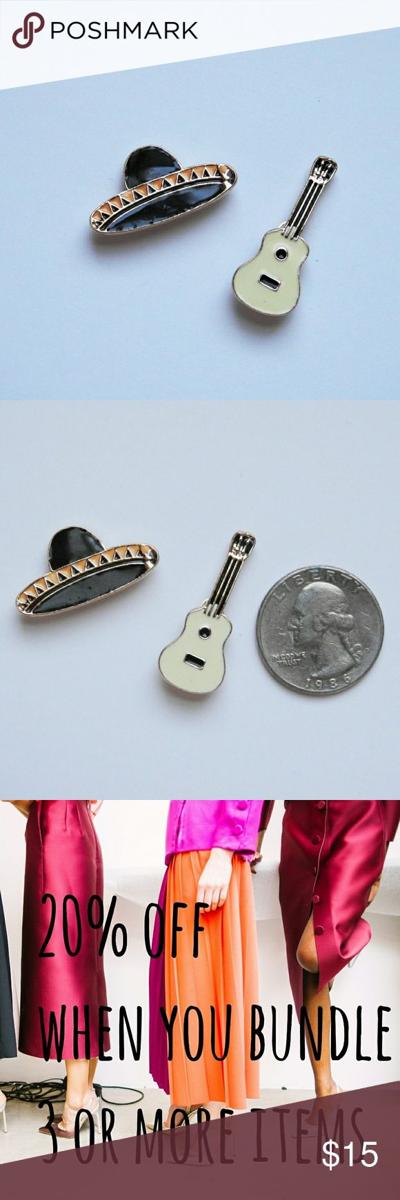 Enamel Pin set: Sombrero and Guitar Cute enamel pins  Set includes: Sombrero  Guitar  Use to decorate backpacks, purses and jean jackets. Accessories