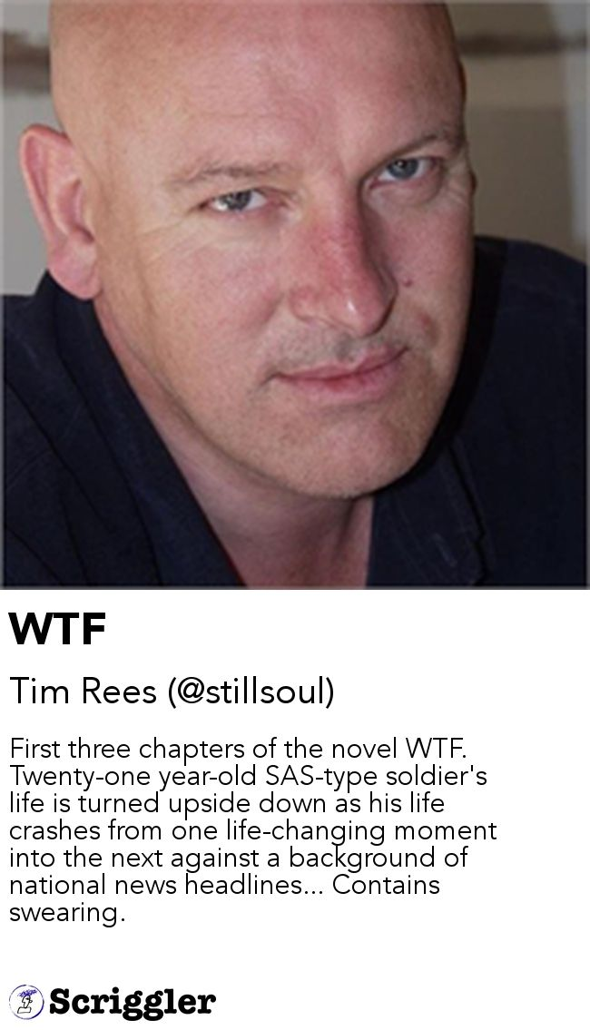WTF by Tim Rees (@stillsoul) https://scriggler.com/detailPost/story/48953 First three chapters of the novel WTF. Twenty-one year-old SAS-type soldier's life is turned upside down as his life crashes from one life-changing moment into the next against a background of national news headlines... Contains swearing.
