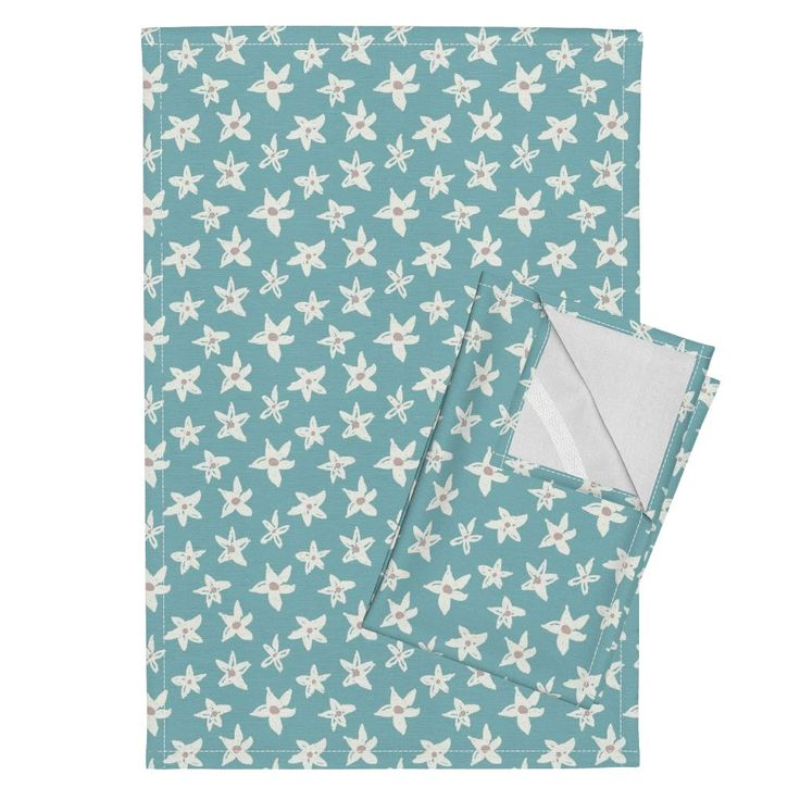 Lofty Flowers Teal Tea Towels by amanda_callcott | Roostery Home Decor