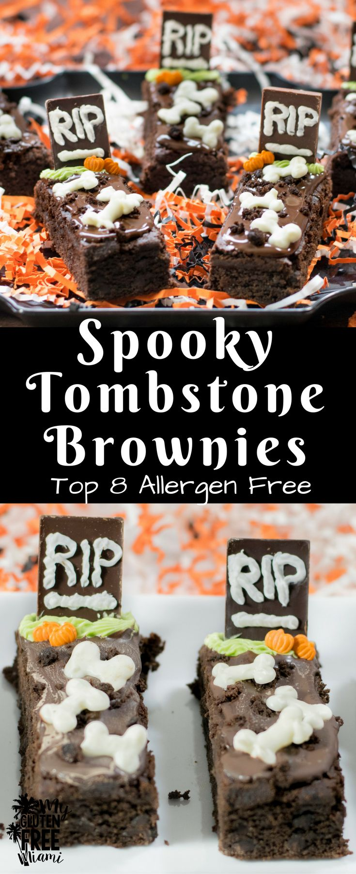 Gluten Free Tombstone Brownies, spooky top 8allerg…