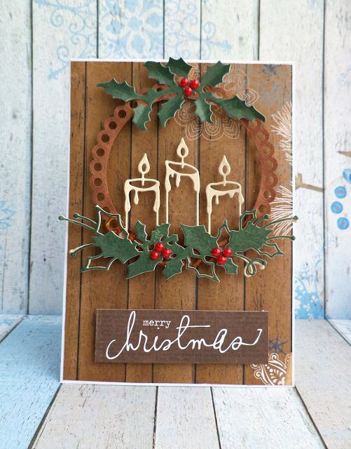 Christmas Cards Handmade, love wet embossed candles
