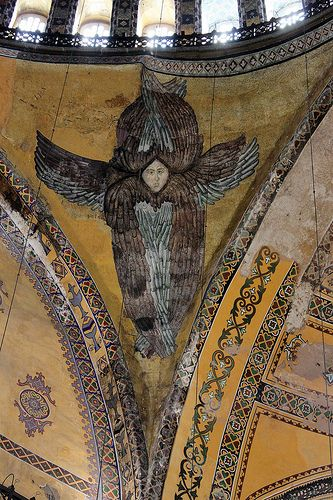 Istanbul: Hagia Sophia ~~~ traditional Orthodox depiction of the six-winged cherubim.