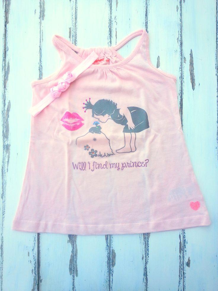 Princess Girls Tank Top And Matching Headband, Girls Pink Tank Top With Matching Flowers Headband, Girls Tank Shirt 5 Years, Girls Matching by PinkAndBlueSugar on Etsy