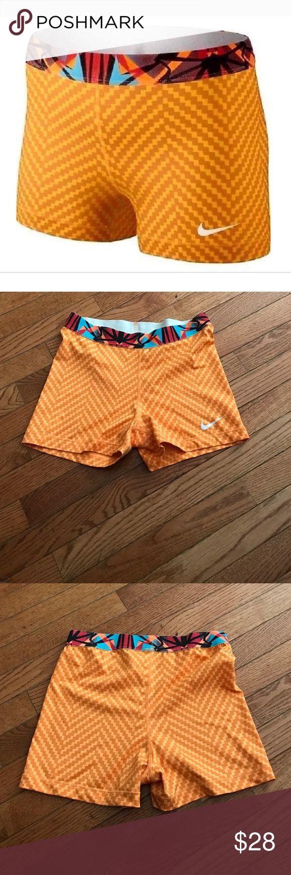 """Nike Pro Core 3"""" Womens Compression Shorts Mango Nike Pro Core 3"""" Womens Compression Training Shorts Mango Orange Zigzag. Excellent used condition. SzL. Nike Shorts"""