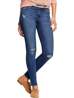 Women's The Rockstar Mid-Rise Distressed Super Skinny Jeans | Old Navy