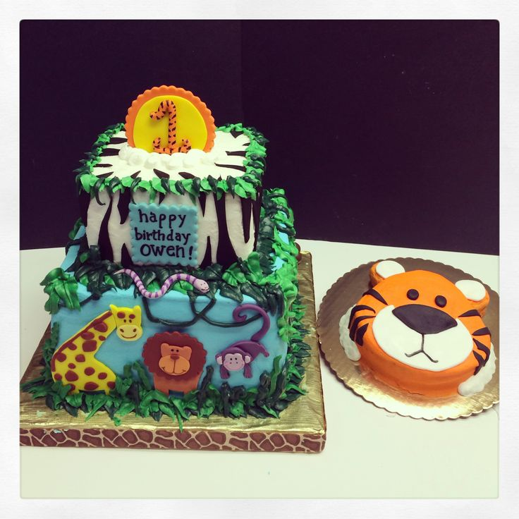 Jungle themed first birthday cake - Jungle themed cake with tiger smash