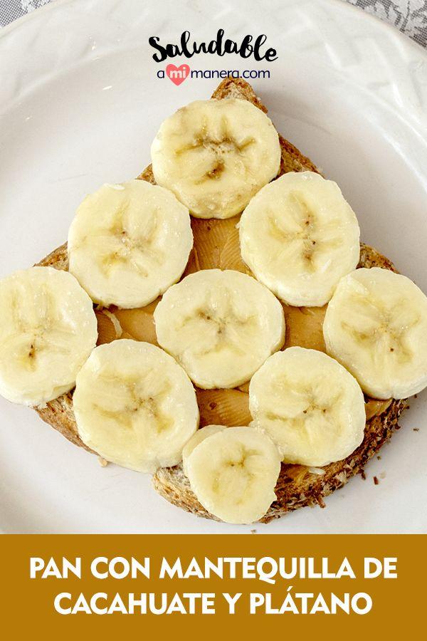 ¿Un pan con mantequilla de cacahuate y plátano es saludable? Este es un desayuno sencillo, rico, nutritivo y llenador ya que incluye frutas, nueces, grasas insaturadas, granos enteros y fibra, te proporciona además una fuente continua de energía suficiente para comenzar la mañana. Breakfast, Healthy, Food, Fiber, Butter, Deserts, Healthy Breakfasts, Cooking, Essen