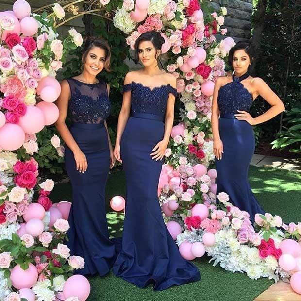 Long, Navy Blue Bridesmaid Dresses