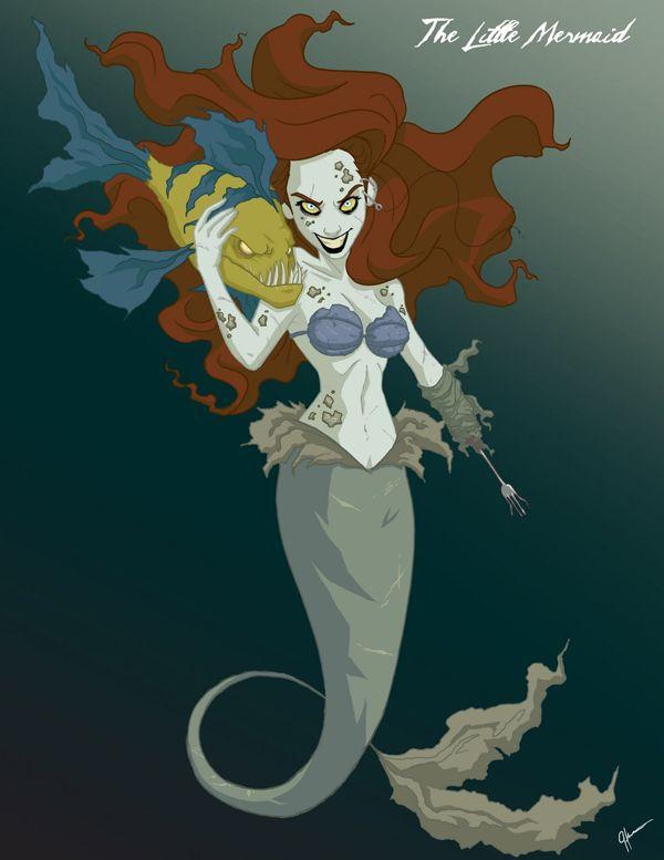 Princesas de Disney convertidas en Zombies por Jeffrey Thomas.