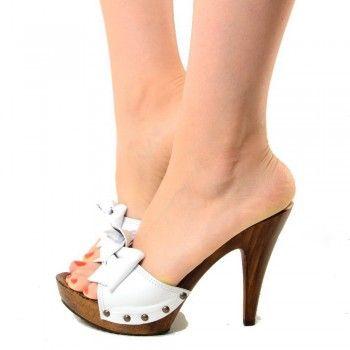 Zoccoli Alti Scarpe Donna in Pelle con Nodo Bianco - KikkiLine Calzature