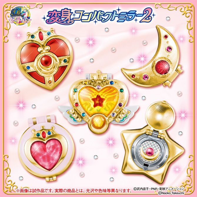 Official Japanese capsule, gashapon Sailor Moon Compact Mirror Set 2