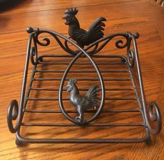 Vintage Farmhouse Metal Rooster Napkin Holder by belladonnasattic