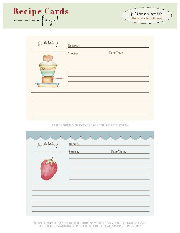 Recipe Card Free Download