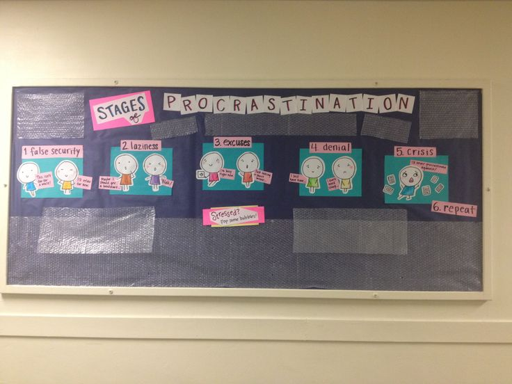 Procrastination bulletin board with some stress-relief bubble wrap! #RA