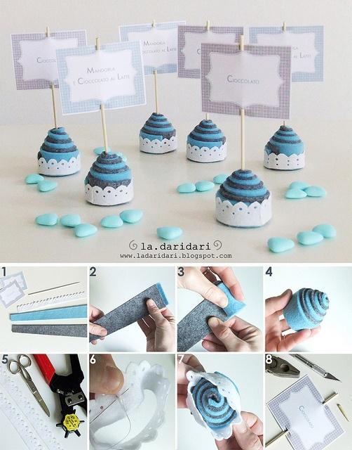 felt cupcake tutorial via ladaridari.blogspot.com