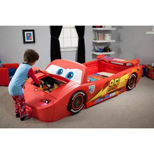 Disney - Cars Lightening McQueen Convertible Toddler to Twin Bed with Lights and Toy Box for tommy