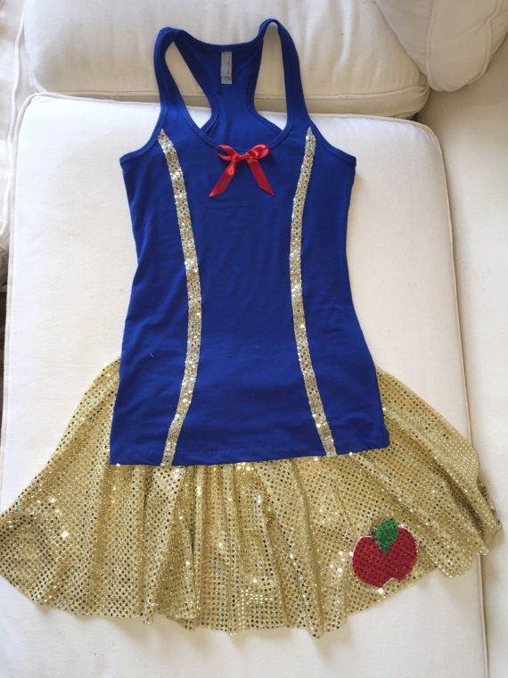 Snow White Inspired Running/Athletic Skirt and Tank top. Skirts are made to order and will require your exact measurements to custom make skirts, If no measurements received will make according to sizing below that is ordered. Skirts do have elastic waist and comfortable to wear. The tank top is a purchased top that has been modified. Can easily be worn alone or over shorts/capris for running. Lightweight. Can also be made in kid sizes. For custom order please contact us. Skirts/Tank:Hand…