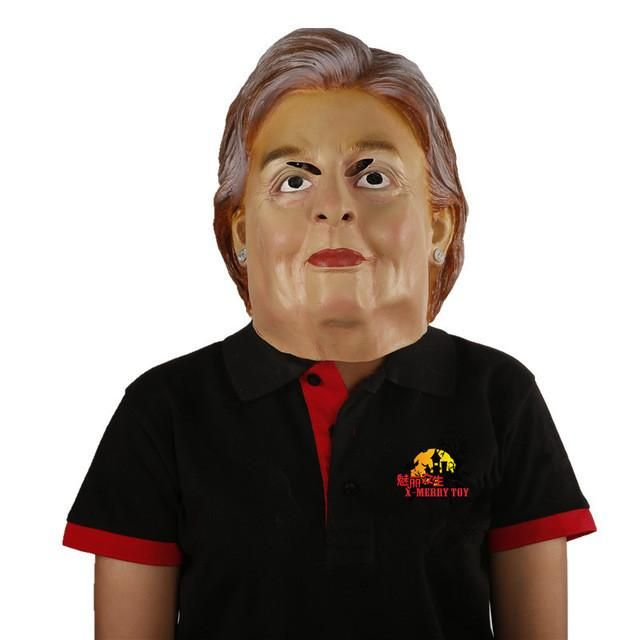 X-MERRY TOY Mascaras Halloween Donald Trump Latex Mask Hillary Clinton Human Face Mask Free Shipping