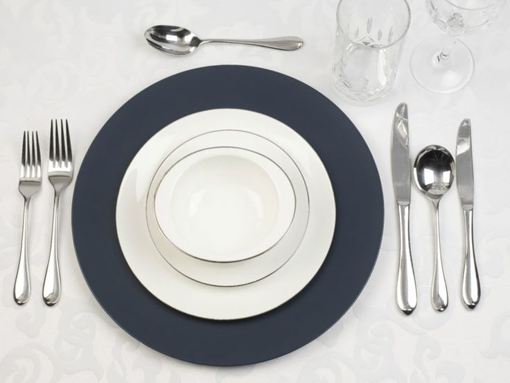 8 x Navy Blue Charger Plates. EBay. £19.99
