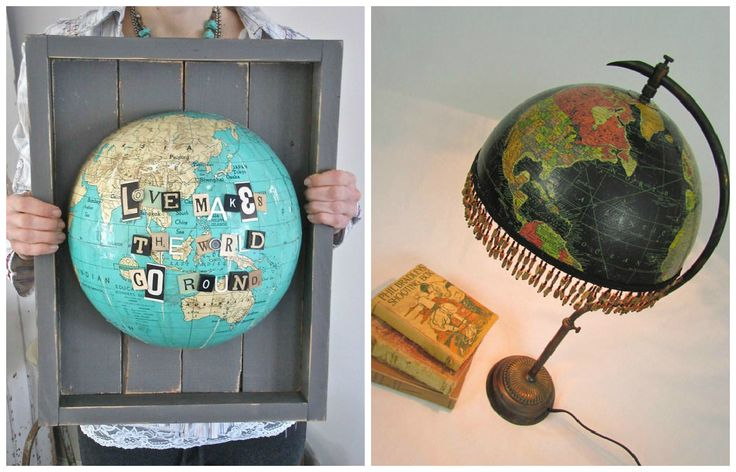 Do you believe in globe-al recycling? Head on down to your local thrift store and use one of these 18 inspiring ideas to recycle or upcycle your own little piece of the world. ++ More information at Blue Velvet Chair website ! Idea sent by Michael Helander ! #DIY, #Globe, #Recycled, #Repurposed