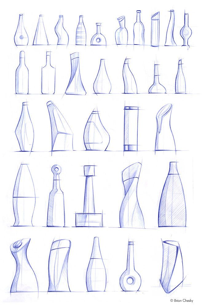 bottle sketches by Jonathan Osborne