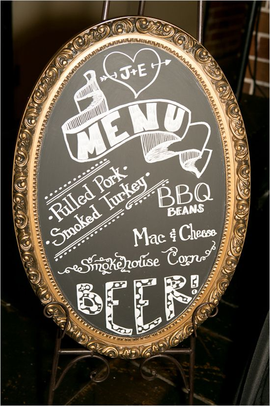 Vintage-look chalkboard menu sign | JM- I'm already hitched but this would be great for cookouts too!