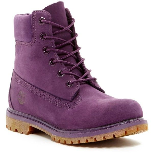Timberland 6 Inch Premium Waterproof Boot ($80) ❤ liked on Polyvore featuring shoes, boots, purple, laced up boots, lace up boots, lacing boots, water proof boots and block heel boots
