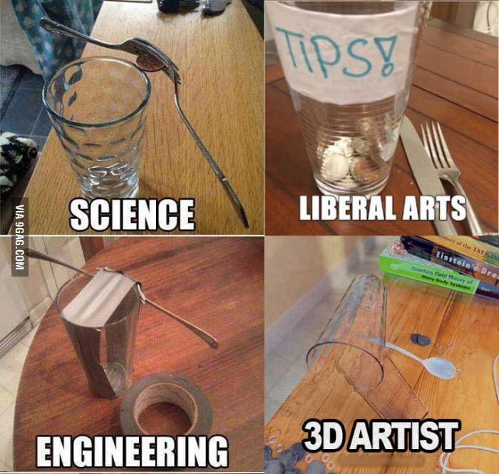 Science Vs Engineering Vs Liberal Arts Vs 3d Arts Art Jokes Happy Birthday Funny Birthday Humor