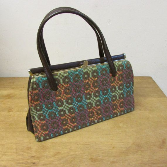 Vintage all wool Welsh tapestry handbag by CarlaCollects on Etsy